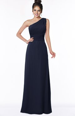 ColsBM Adalyn Peacoat Mature Sheath Sleeveless Half Backless Chiffon Ruching Bridesmaid Dresses