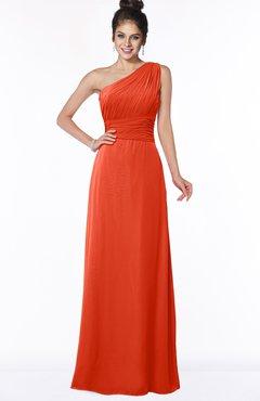 ColsBM Adalyn Persimmon Mature Sheath Sleeveless Half Backless Chiffon Ruching Bridesmaid Dresses