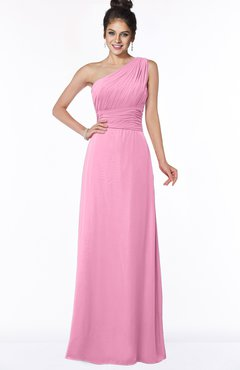 ColsBM Adalyn Pink Mature Sheath Sleeveless Half Backless Chiffon Ruching Bridesmaid Dresses
