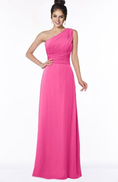 ColsBM Adalyn Rose Pink Mature Sheath Sleeveless Half Backless Chiffon Ruching Bridesmaid Dresses