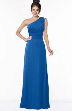 ColsBM Adalyn Royal Blue Mature Sheath Sleeveless Half Backless Chiffon Ruching Bridesmaid Dresses