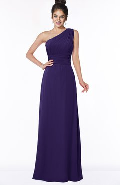 ColsBM Adalyn Royal Purple Mature Sheath Sleeveless Half Backless Chiffon Ruching Bridesmaid Dresses