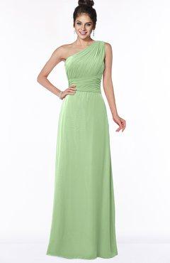 ColsBM Adalyn Sage Green Mature Sheath Sleeveless Half Backless Chiffon Ruching Bridesmaid Dresses