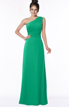 ColsBM Adalyn Sea Green Mature Sheath Sleeveless Half Backless Chiffon Ruching Bridesmaid Dresses