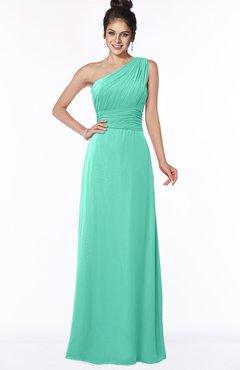 ColsBM Adalyn Seafoam Green Mature Sheath Sleeveless Half Backless Chiffon Ruching Bridesmaid Dresses