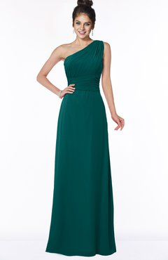 ColsBM Adalyn Shaded Spruce Mature Sheath Sleeveless Half Backless Chiffon Ruching Bridesmaid Dresses