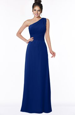 ColsBM Adalyn Sodalite Blue Mature Sheath Sleeveless Half Backless Chiffon Ruching Bridesmaid Dresses