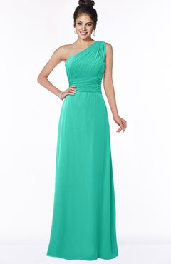 ColsBM Adalyn Viridian Green Mature Sheath Sleeveless Half Backless Chiffon Ruching Bridesmaid Dresses
