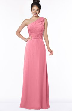 ColsBM Adalyn Watermelon Mature Sheath Sleeveless Half Backless Chiffon Ruching Bridesmaid Dresses