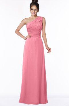 ColsBM Adalyn Watermelon Mature Sheath Sleeveless Half Backless Chiffon Ruching Bridesmaid Dresses