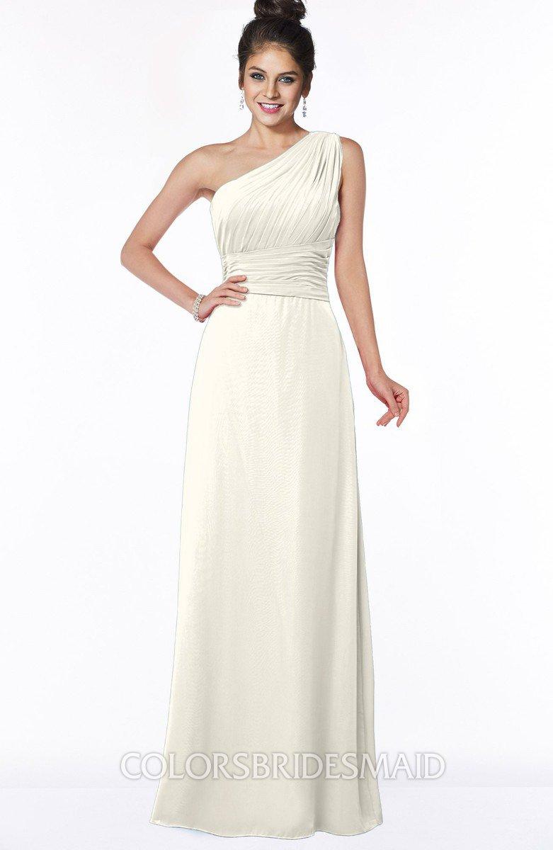 96e08da2953f ColsBM Adalyn Whisper White Mature Sheath Sleeveless Half Backless Chiffon  Ruching Bridesmaid Dresses