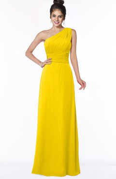 ColsBM Adalyn Yellow Mature Sheath Sleeveless Half Backless Chiffon Ruching Bridesmaid Dresses