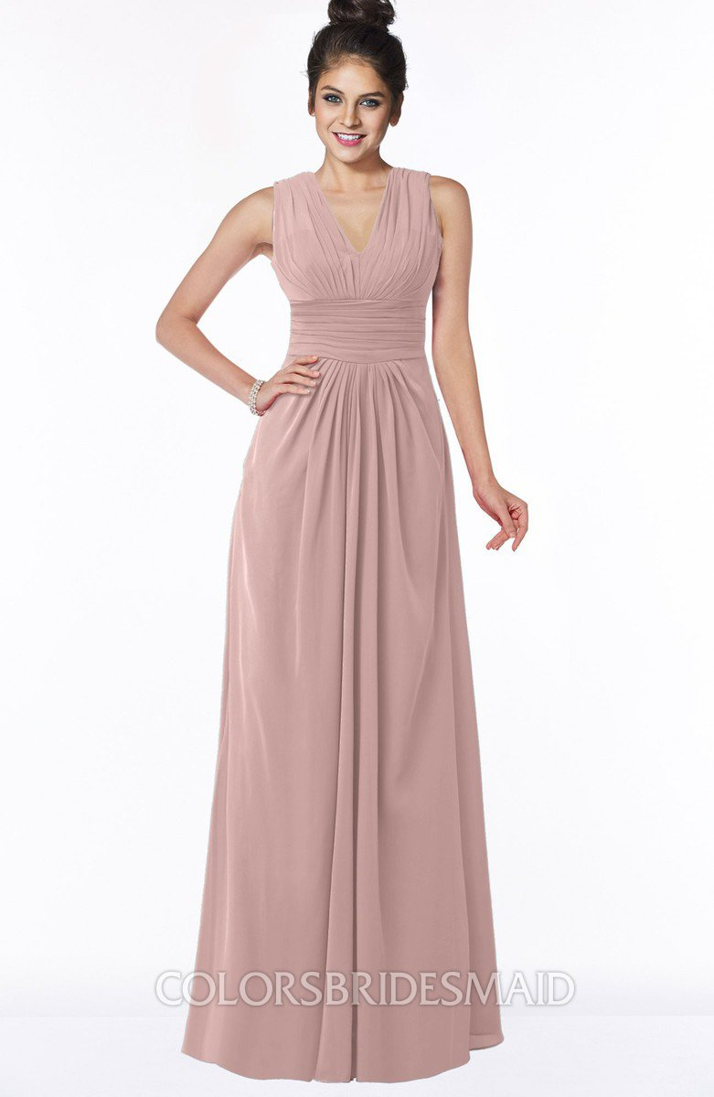 360290982db3 ColsBM Isla Blush Pink Elegant V-neck Sleeveless Chiffon Floor Length  Ruching Bridesmaid Dresses