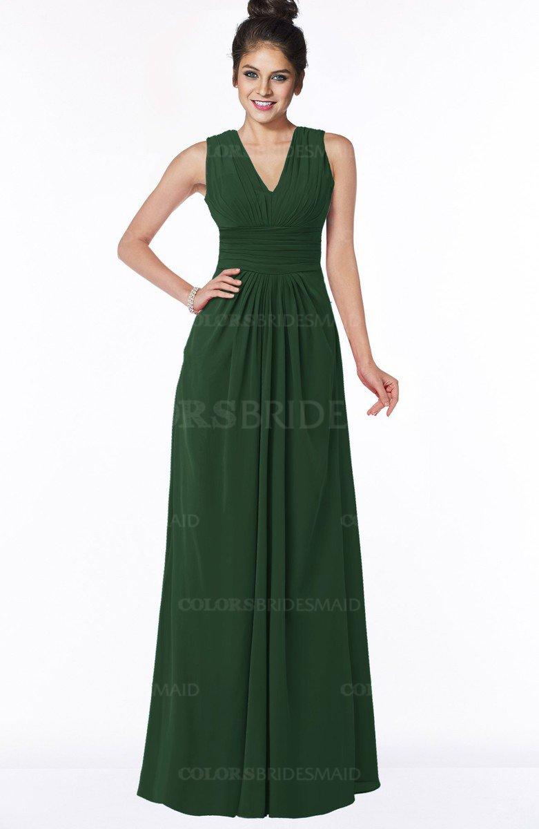 d12702e63d23 ColsBM Isla Hunter Green Elegant V-neck Sleeveless Chiffon Floor Length Ruching  Bridesmaid Dresses