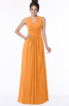 ColsBM Isla Orange Elegant V-neck Sleeveless Chiffon Floor Length Ruching Bridesmaid Dresses