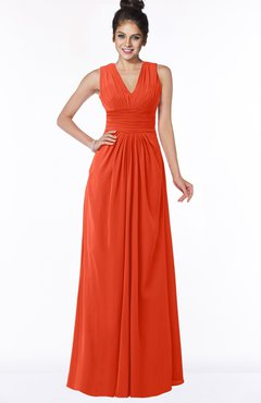 ColsBM Isla Persimmon Elegant V-neck Sleeveless Chiffon Floor Length Ruching Bridesmaid Dresses