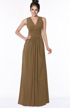 ColsBM Isla Truffle Elegant V-neck Sleeveless Chiffon Floor Length Ruching Bridesmaid Dresses