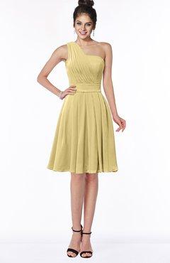 ColsBM Sophia Gold Cute A-line Sleeveless Chiffon Ruching Bridesmaid Dresses