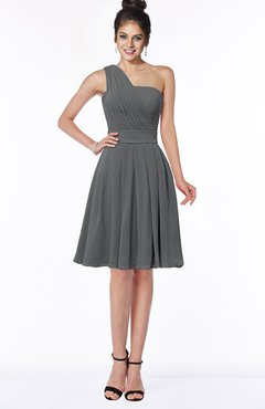 ColsBM Sophia Grey Cute A-line Sleeveless Chiffon Ruching Bridesmaid Dresses