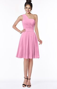 ColsBM Sophia Pink Cute A-line Sleeveless Chiffon Ruching Bridesmaid Dresses