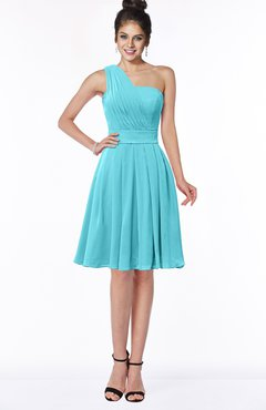 ColsBM Sophia Turquoise Cute A-line Sleeveless Chiffon Ruching Bridesmaid Dresses