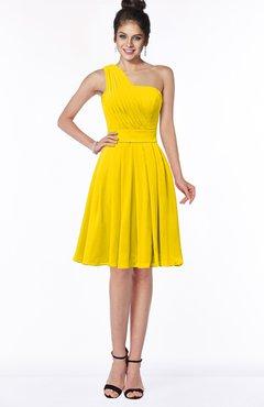 ColsBM Sophia Yellow Cute A-line Sleeveless Chiffon Ruching Bridesmaid Dresses