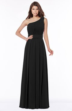 ColsBM Adeline Black Gorgeous A-line One Shoulder Zip up Floor Length Pleated Bridesmaid Dresses