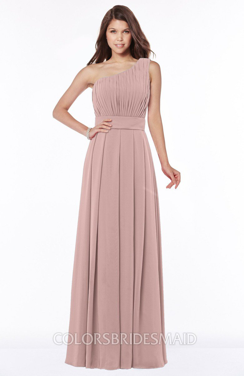 Colsbm Adeline Blush Pink Gorgeous A Line One Shoulder Zip Up Floor Length Pleated Bridesmaid