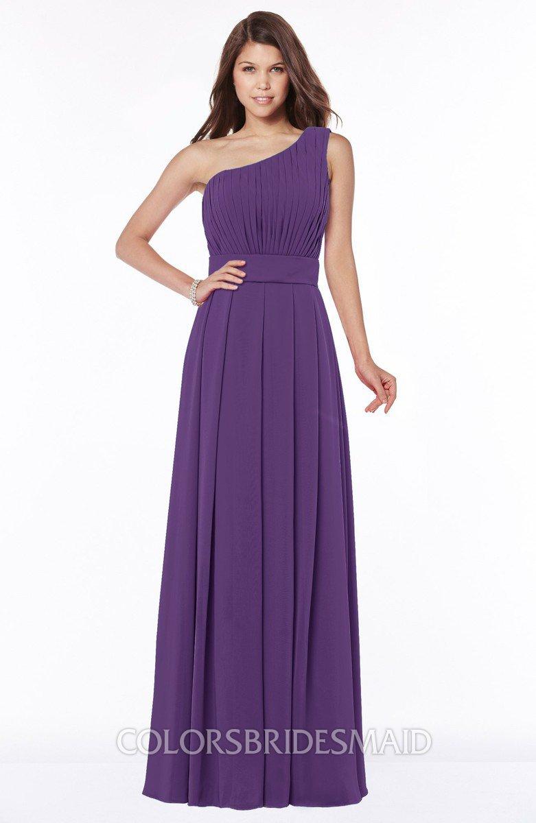 eba268f7727ff ColsBM Adeline Dark Purple Gorgeous A-line One Shoulder Zip up Floor Length  Pleated Bridesmaid