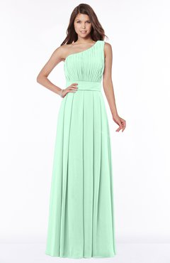 ColsBM Adeline Honeydew Gorgeous A-line One Shoulder Zip up Floor Length Pleated Bridesmaid Dresses