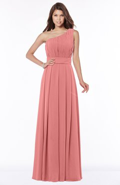 ColsBM Adeline Lantana Gorgeous A-line One Shoulder Zip up Floor Length Pleated Bridesmaid Dresses