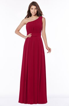 ColsBM Adeline Maroon Gorgeous A-line One Shoulder Zip up Floor Length Pleated Bridesmaid Dresses