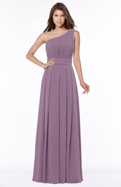ColsBM Adeline Mauve Gorgeous A-line One Shoulder Zip up Floor Length Pleated Bridesmaid Dresses