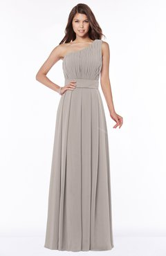 ColsBM Adeline Mushroom Gorgeous A-line One Shoulder Zip up Floor Length Pleated Bridesmaid Dresses