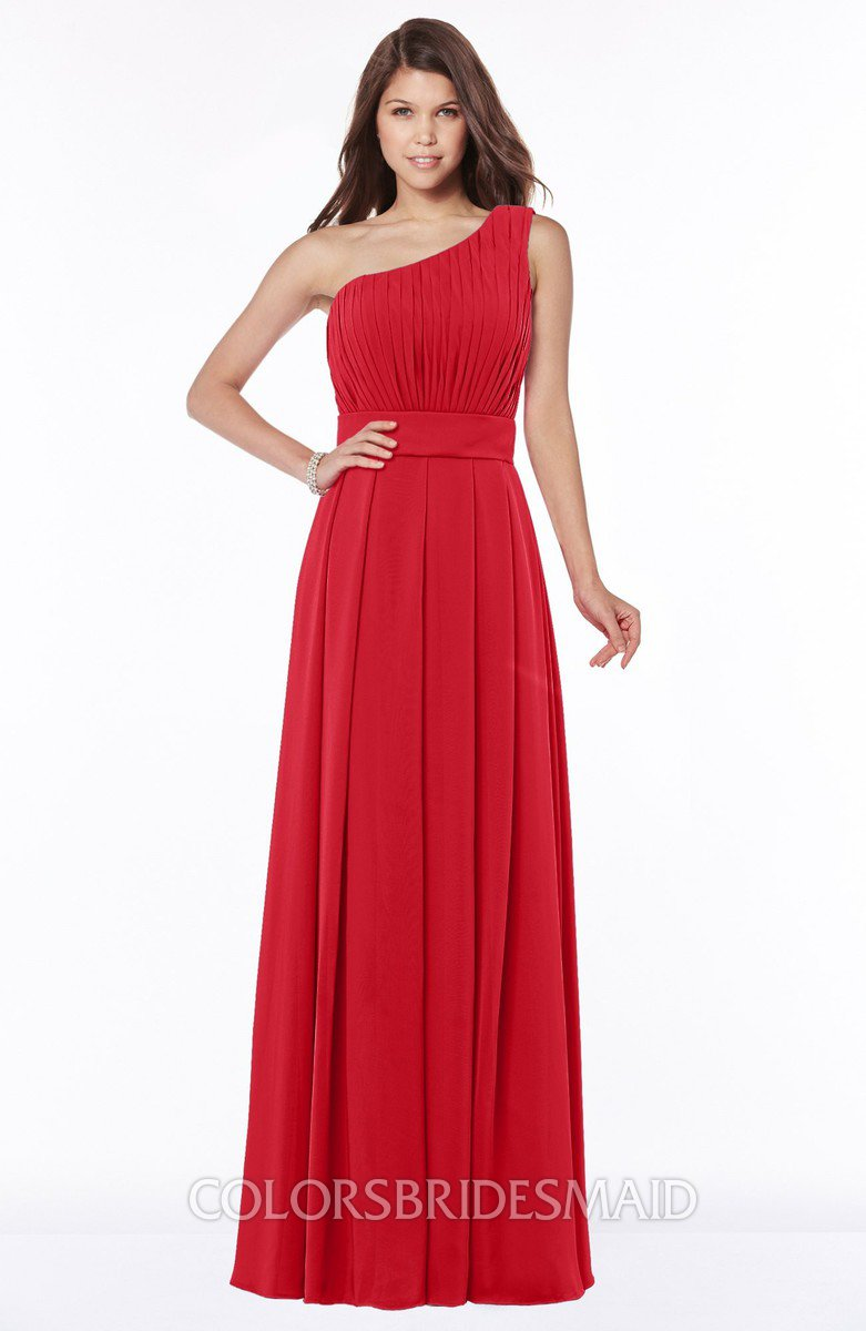 1503f033a99 ColsBM Adeline Red Gorgeous A-line One Shoulder Zip up Floor Length Pleated Bridesmaid  Dresses