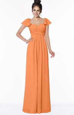 ColsBM Siena Mango Modern A-line Wide Square Short Sleeve Zip up Pleated Bridesmaid Dresses