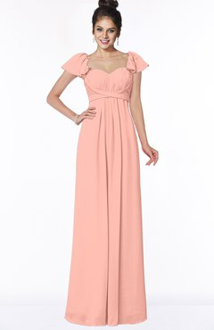 ColsBM Siena Peach Modern A-line Wide Square Short Sleeve Zip up Pleated Bridesmaid Dresses