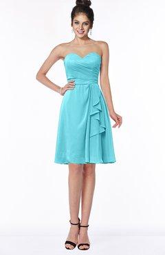 ColsBM Janiya Turquoise Traditional A-line Sleeveless Half Backless Knee Length Bridesmaid Dresses