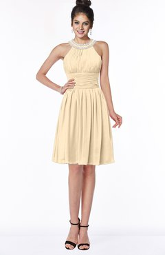 ColsBM Liana Apricot Gelato Cute A-line Jewel Chiffon Pleated Bridesmaid Dresses