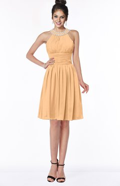 ColsBM Liana Apricot Cute A-line Jewel Chiffon Pleated Bridesmaid Dresses