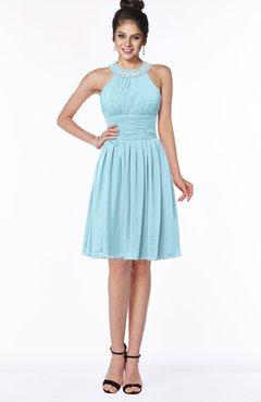 ColsBM Liana Aqua Cute A-line Jewel Chiffon Pleated Bridesmaid Dresses