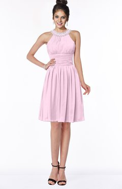 ColsBM Liana Baby Pink Cute A-line Jewel Chiffon Pleated Bridesmaid Dresses