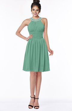 ColsBM Liana Beryl Green Cute A-line Jewel Chiffon Pleated Bridesmaid Dresses