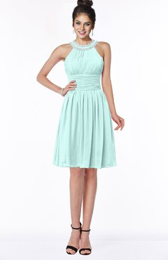 ColsBM Liana Blue Glass Cute A-line Jewel Chiffon Pleated Bridesmaid Dresses