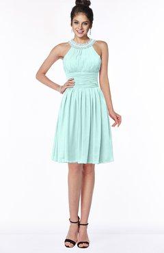 ColsBM Liana Blue Glass Cute A-line Jewel Chiffon Pleated Bridesmaid Dresses