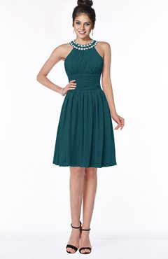 ColsBM Liana Blue Green Cute A-line Jewel Chiffon Pleated Bridesmaid Dresses