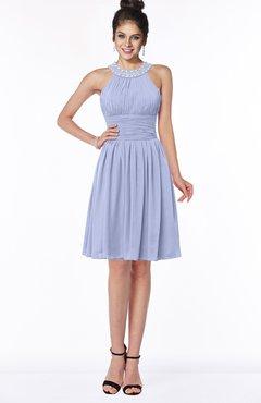 ColsBM Liana Blue Heron Cute A-line Jewel Chiffon Pleated Bridesmaid Dresses