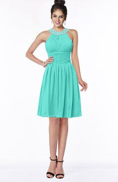 ColsBM Liana Blue Turquoise Cute A-line Jewel Chiffon Pleated Bridesmaid Dresses