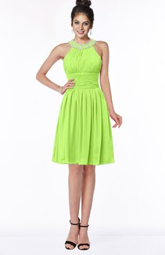 ColsBM Liana Bright Green Cute A-line Jewel Chiffon Pleated Bridesmaid Dresses