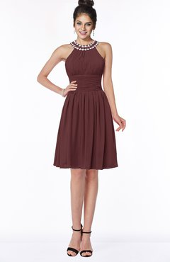 ColsBM Liana Burgundy Cute A-line Jewel Chiffon Pleated Bridesmaid Dresses